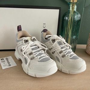NEW Gucci Flasthrek Sneakers white 38.5